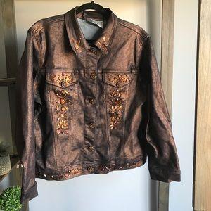 Brown Metallic Rhinestone Denim Jacket